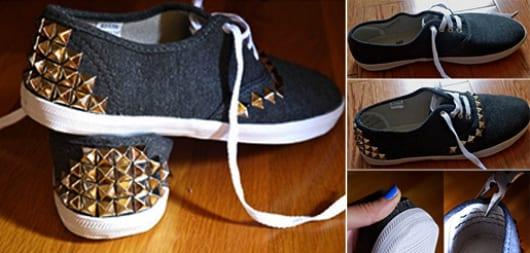 bastelideen für DIY  sneakers mit beschläge