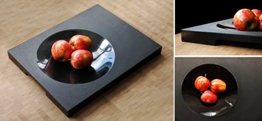 ideale dekoration für Holztisch mit rechteckiger Obstschale schwarz