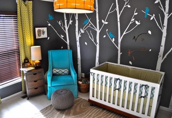 babyzimmer einrichten und dekorieren in grau und blau mit gardinen ... - Wandtattoo Kinderzimmer Grun