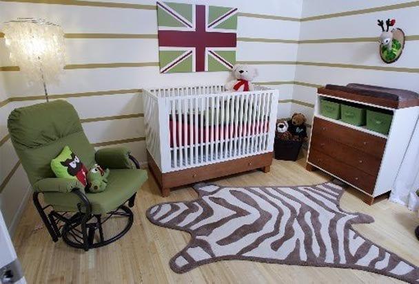wand streichen ideen mit streifen in grün und weiß für wandgestaltung babyzimmer