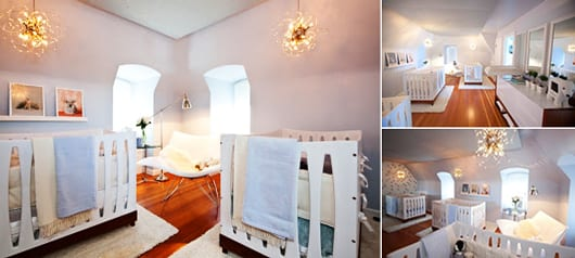 babyzimmer weiß mit modernem gitterbett und weißem Sessel