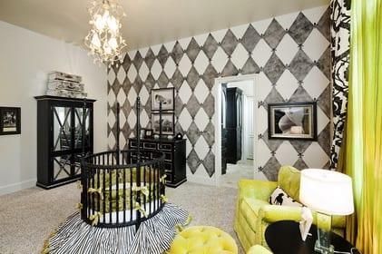 schwarz weißes wandmuster streichen fürs babyzimmer mit schwarzen babyzimmer möbeln