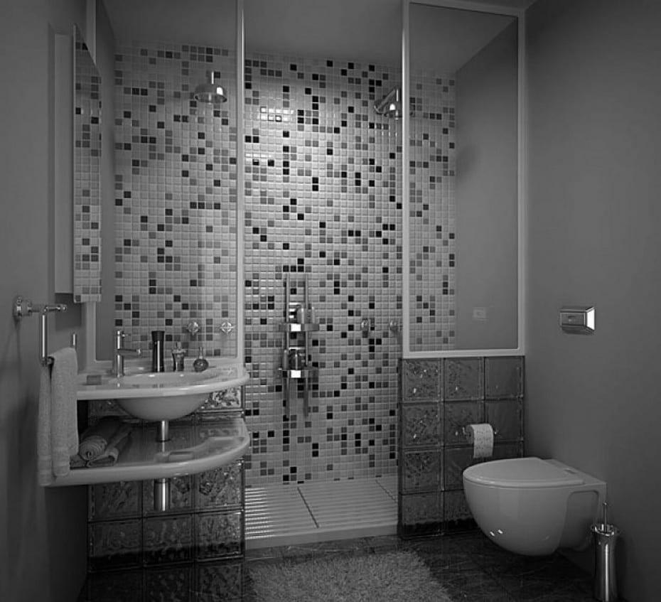 kleines badezimmer design mit duschkabine aus glasteinen und wandmosaik in weiß und grau