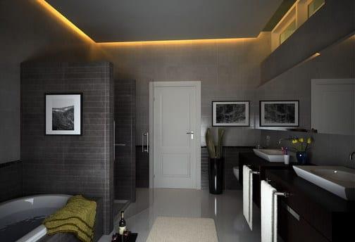 moderne badezimmer decke mit indirekter beleuchtung und schwarzen waschtischen
