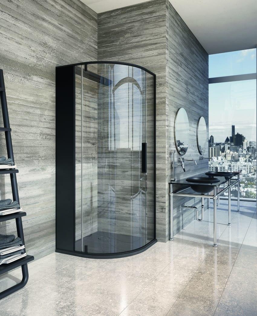 moderne badezimmer mit duschlabine und waschtischen in schwarz