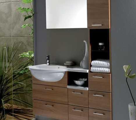 moderne badezimmer mit wandfarbe grau