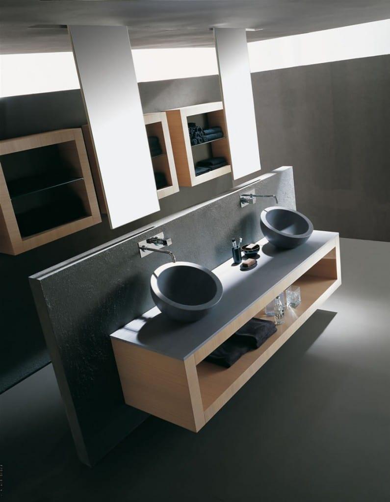 luxus badezimmer grau mit hängendem wandschrank und runden wanschbecken grau