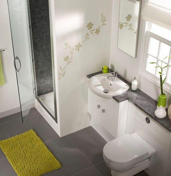 moderne badezimmer ideen mit kleiner duschkabine und akzent in grün