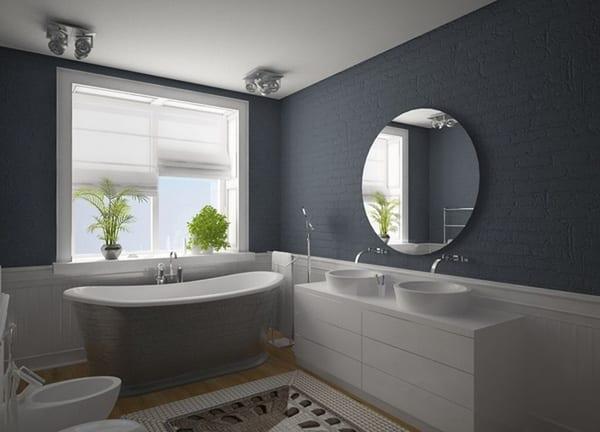 badezimmer ideen mit badezimmer teppich und rundspigel für badezimmer