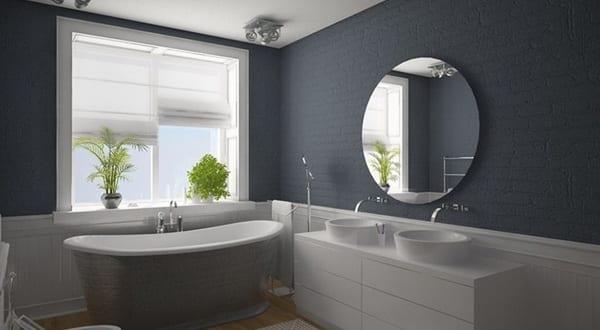 Badezimmer grau mit zigelwand und badezimmerschrank wei mit zwei waschtischen freshouse - Badezimmerschrank grau ...