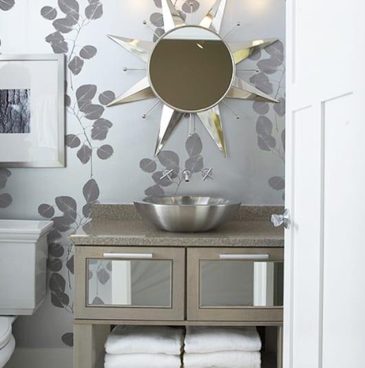 moderne badezimmer grau mit wandgestaltung badezimmer rundspiegel sonne