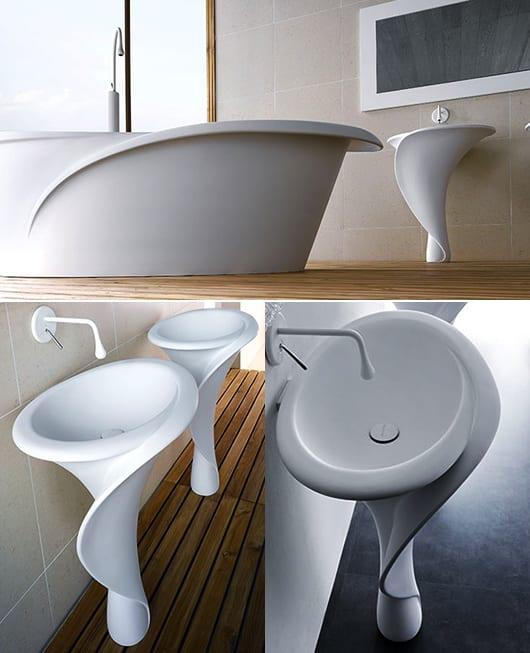 interessante badezimmereinrichtung mit blumenförmigen badezimmermöbeln