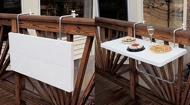weißer klapptisch für den balkon
