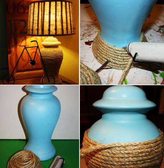 blaue Tischlampe mit seile dekorieren