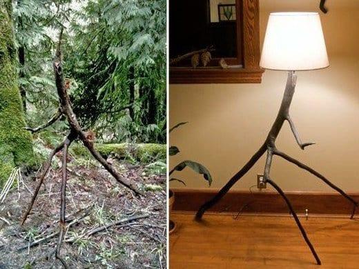 DIY Stehlampe aus zweige und lampenschirm