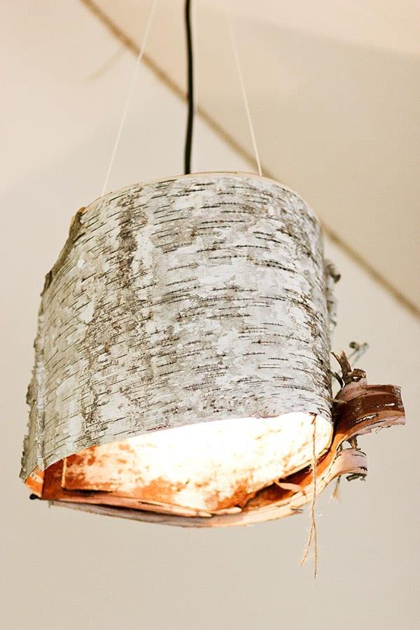 lampenschirm selber basteln aus holzborke