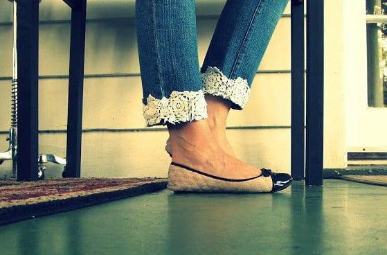 jeans sau mit spitze verschönern