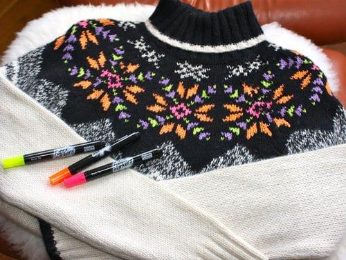 alte pullover verschönern mit stiften