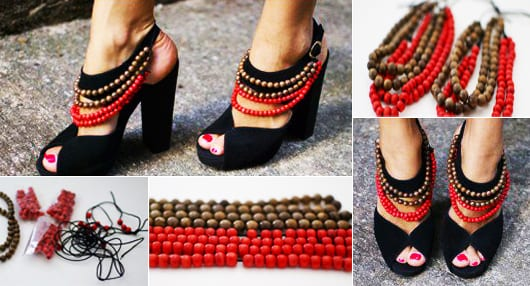 idee für gestaltung von schwarzen high heels in rot