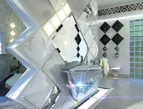 brillant waschbecken für luxus badezimmer mit kreative wandgestaltung mit weißen wandfliesen