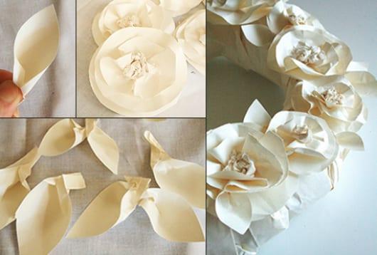 idee für DIY Frühlingsdeko mit Blumenkranz aus Papier
