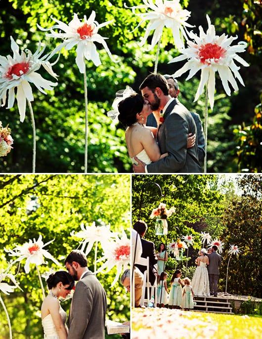 kreative Dekoration für Gartenhochzeit mit Frühlingsblumen selber basteln