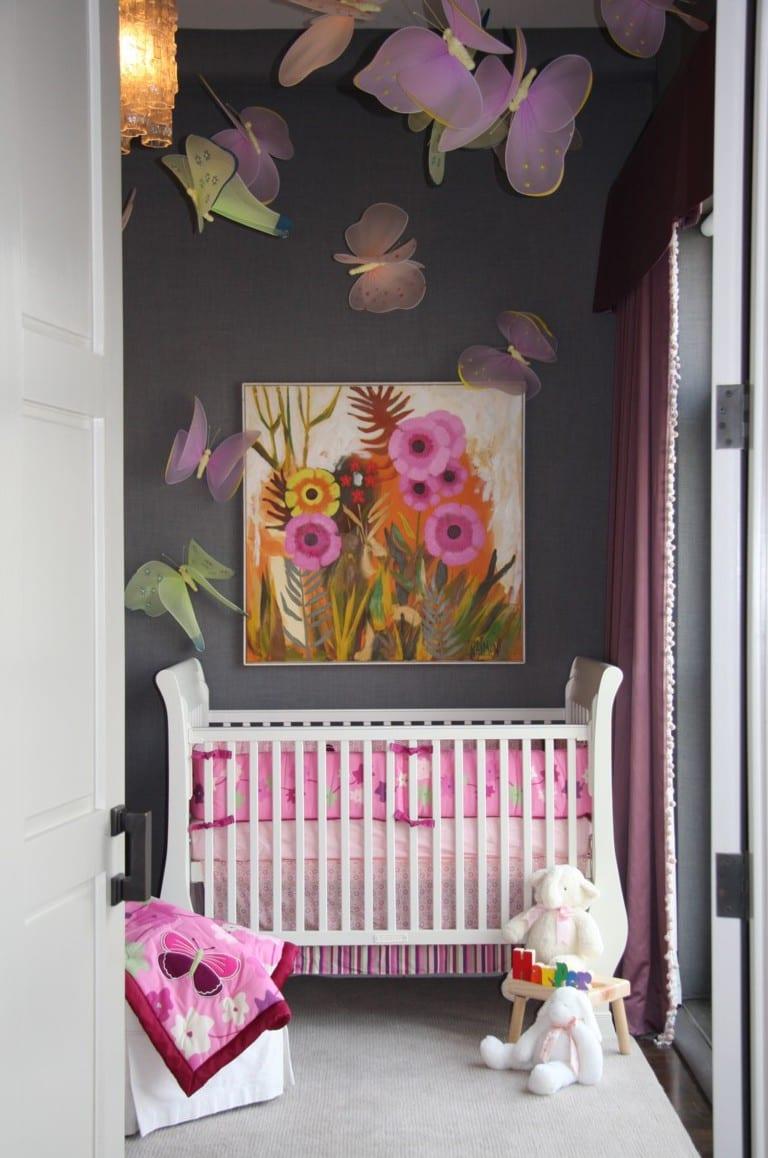 graue wandfarbe und lila vorhönge babyzimmer für elegante mädchen babyzimmergestaltung