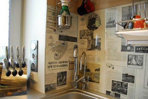 wandgestaltung küche mit zeitschriften