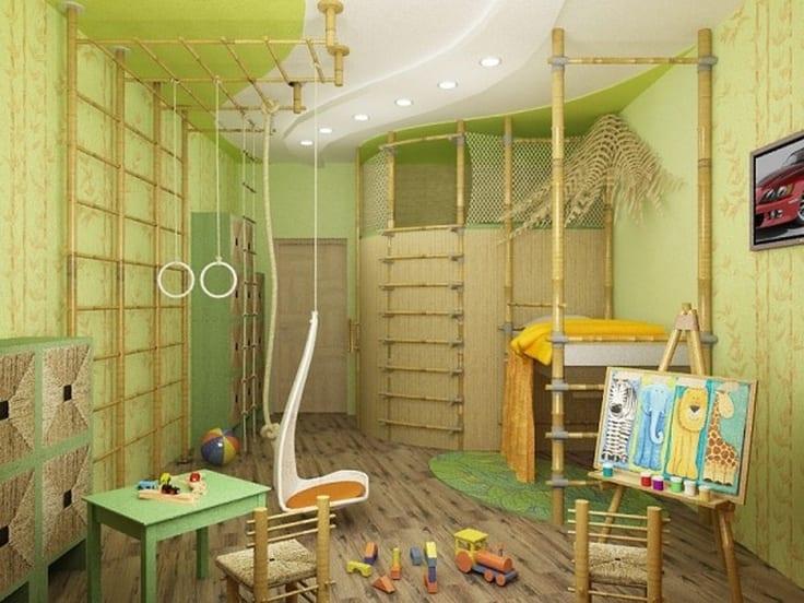 Kinderzimmer grün mit bambus und kletterwand
