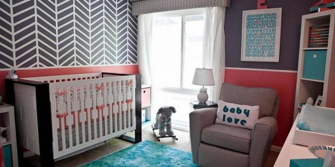 coole wand streichen idee babyzimmer in rosa und taupe freshouse. Black Bedroom Furniture Sets. Home Design Ideas