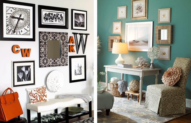 blaue wand und weiße wand mit bilderrahmen dekorieren