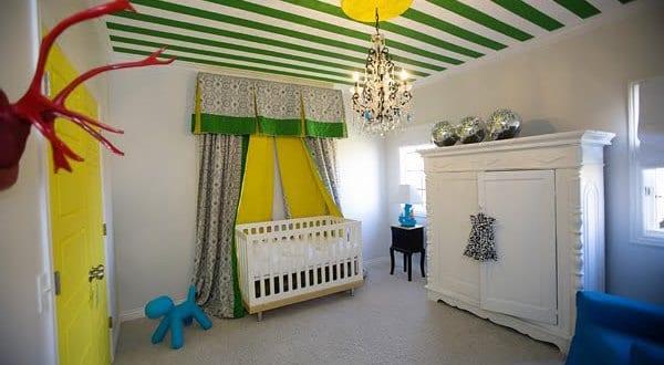 ... streichen idee in gelb und grün mit vorhängen babyzimmer gelb