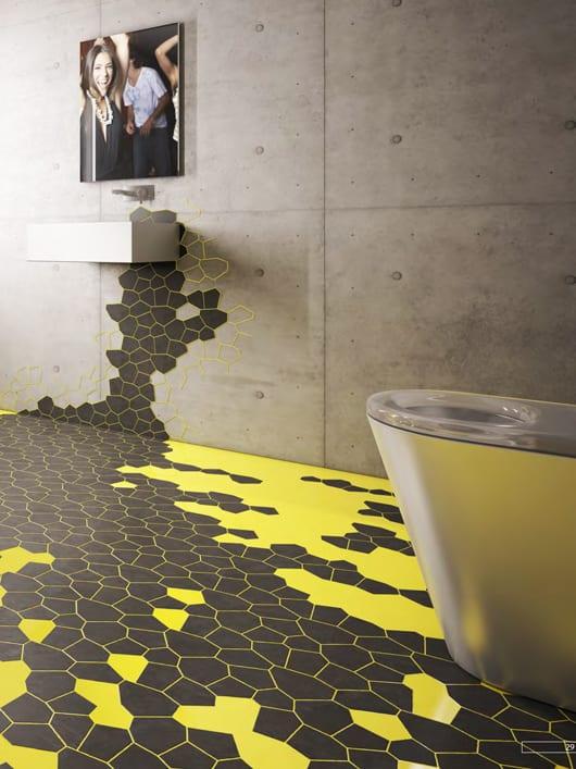 Badezimmer Fliesen Idee mit innovativen Boden und Wnadfliesen von agrob-buchtal