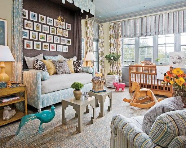 interessante gestaltung babyzimmer in braun und hellblau