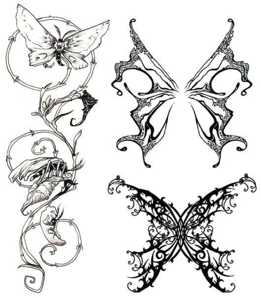 kleine Tattoovorlagen für schmetterling tattoo