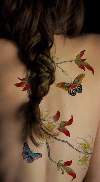 farbige schmetterling tattoovorlage für den rücken