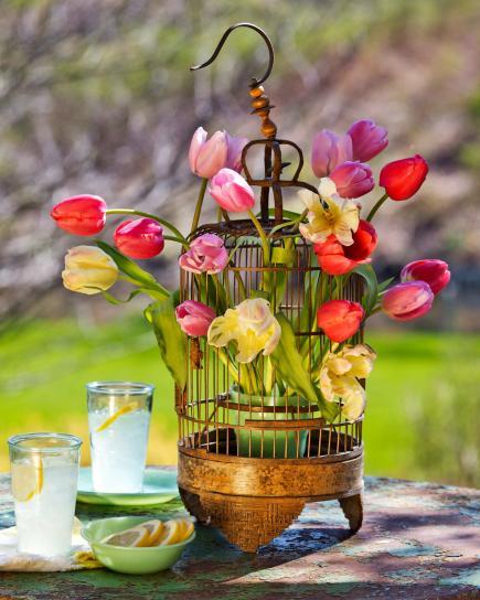 dekoideen frühling mit tulpen