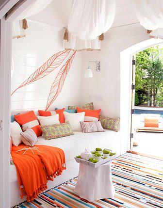 wohnzimmer inspirationen für frisches interior design mit Sofanische und sofadecke orange