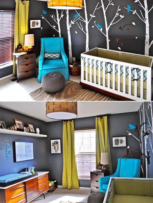 babyzimmer einrichten und dekorieren in blau und gelb