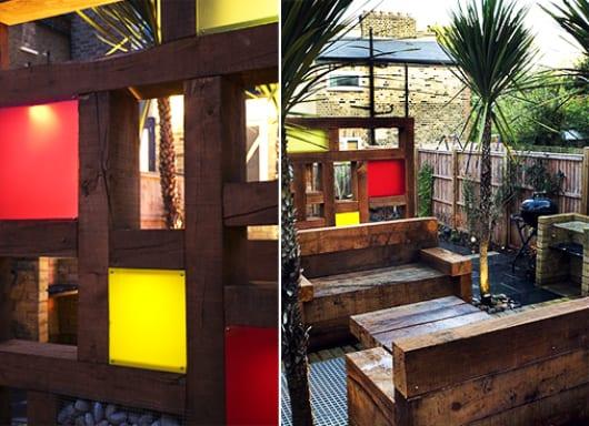 DIY Gartenmöbel und sichtschutzwand aus Holz mit Farbgläsern