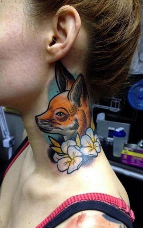 tattoo art für hals mit fuchs tattoo ideen