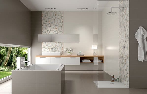 luxus badezimmer grau mit freistehende badewanne grau