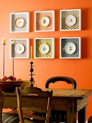 wandfarbe apricot und Esstisch aus holz für wohnzimmer rustikal