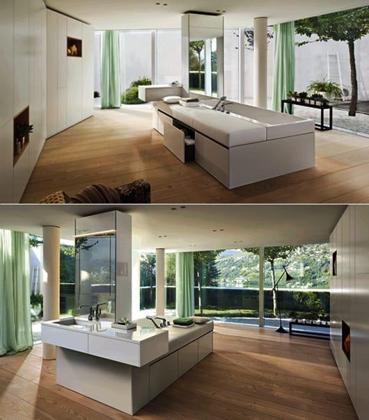 inneneinrichtung für luxus badezimmer mit Holzboden und badezimmer spiegel mit beleuchtung