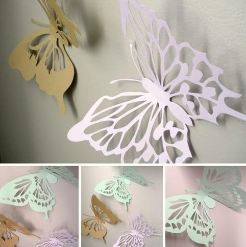 coole wanddeko schmetterlingen aus papier