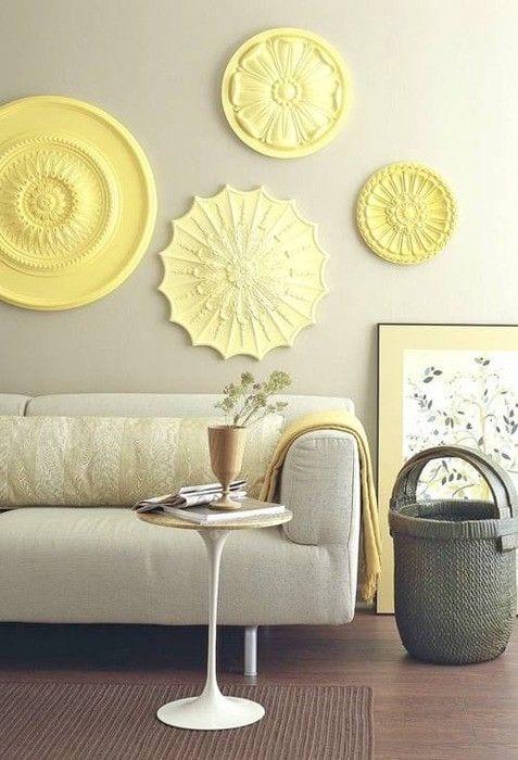 wohnzimmer inspirationen für kreative wandgestaltung in gelb