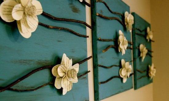 ideen f r diy wanddeko mit blumen aus papier freshouse. Black Bedroom Furniture Sets. Home Design Ideas
