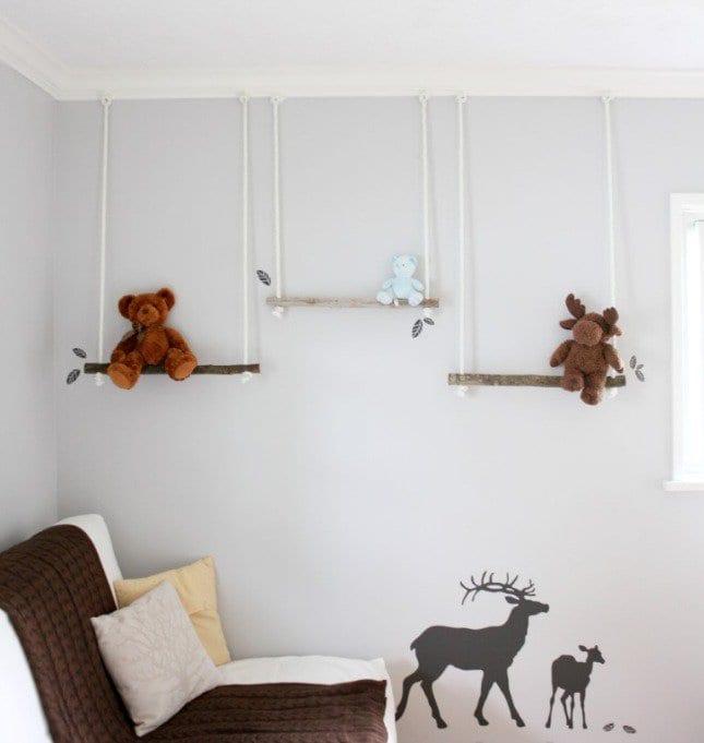 DIY Wanddeko kinderzimmer mit wandfarbe grau und wandtattoo kinderzimmer