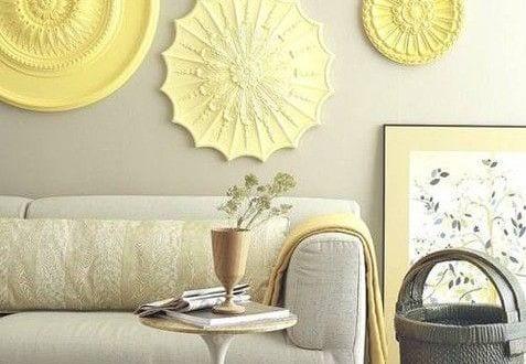 ideen für wandgestaltung wohnzimmer in gelb - fresHouse