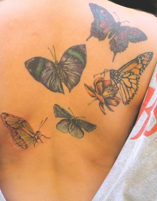 rücken tattoo frauen mit schmetterlingen tattoo